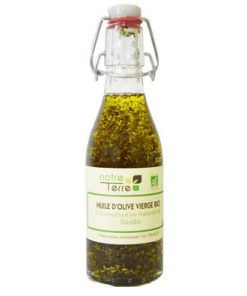 Huile d'olive vierge extra bio arôme basilic 25cl